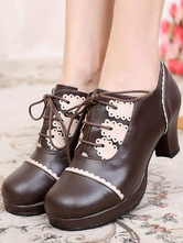 Lolitashow Sweet Lolita Shoes Chunky Heel Lace Up Ruffles Pumps