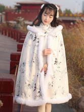 White Lolita Cape Coat Hooded Printed Lace Up Cashmere Lolita Poncho