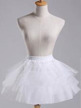 Lolitashow Sweet Lolita Petticoat White Short Organza Tiered Tu Tu Skirt