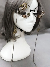 Lolitashow Vintage Lolita Glasses Steampunk Gear Chains Bronze Lolita Costume Accessories
