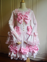 Lolitashow Sweet Pink Lolita One-piece Dress Long Hime Sleeves with Bows