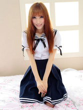 Lolitashow Sailor Style White Lolita Blouse Navy Blue Skirt Sets Short Sleeves