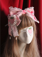 Lolitashow Pink Lolita Gothic Hair Accessories Strawberry Bow Lace Hair Accessories