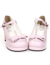 Lolitashow Sweet Chunky Heels Lolita Shoes Bow Decor Ankle Strap Buckle