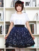 Lolitashow Blue Lolita Dress Sweet Constellation Printed Lolita Skirt With Black Lace Trim