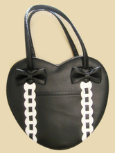 Lolitashow Heart Shaped Bows Lovely PVC Lolita Bag