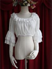 Lolitashow White Chiffon Lolita Blouse Middle Hime Sleeves Lace Trim High Waist