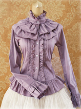Lolitashow Sweet Cotton Lolita Blouse Long Sleeves Ruffles Stand Collar