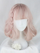 Pink Lolita Wigs Short Curly Braided Blunt Bangs Synthetic Hair Wigs
