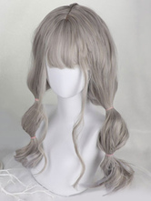Gothic Lolita Wigs Harajuku Long Curly Light Gray Synthetic Hair Wigs
