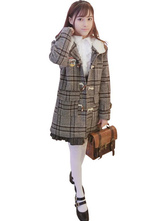 Classic Lolita Coat Hooded Long Sleeve Plaid Woolen Deep Grey Lolita Coat