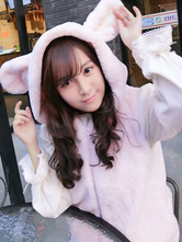 Sweet Lolita Vest Hooded Sleeveless Bunny Polar Fleece Soft Pink Lolita Coat