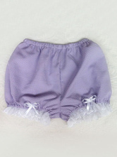 Sweet Lolita Trousers Lace Ruffles Plaid Lilac Lolita Shorts