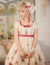 Sweet Lolita Dress OP Printed Sash One Piece Lolita Dress