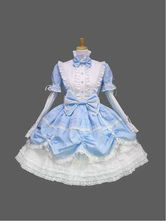 Lolitashow Sweet Lolita Dress OP Light Blue Bow Short Sleeve Lolita One Piece Dress