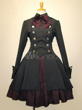 Gothic Lolita Dress OP Black Algodão Duplo Breasted Button Long Sleeve Bow Ruffled Lolita One Piece Dress