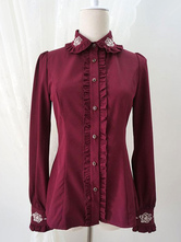 Sweet Lolita Shirt Roses Burgundy Embroidered Lolita Top