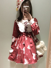 Lolitashow Sweet Lolita Dress OP Burgundy Lolita Dress Lace Up Printed Long Sleeve Flare Dress For Lolita