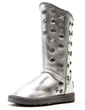 Warm Silver Cow Leather Rivet Women's Snow Boots