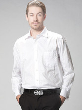 Classic White Plaid Cotton Fibre Tencel Long Sleeve Men's Dress Shirt