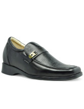 Classic Black Cow Leather PVC Sole Elevator Shoes For Men