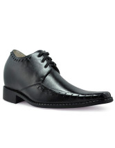 Black Front Tie Rubber Cowhide Men's Increasing Height Shoes