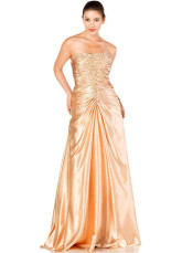 Charming Champagne Elastic Woven Satin Strapless Prom Dress