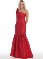 Red Taffeta Flower One Shoulder Mermaid Trumpet Prom Dress