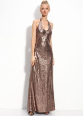 A-line Brown Lace Halter Floor Length Prom Dress