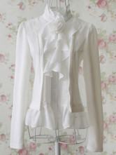 Unique Ivory Elastic Chiffon Long Sleeve Women's Blouse