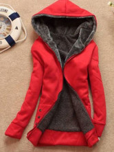 Fashion Red Cotton Plush Lining Women's Hoodie