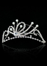 Beautiful White Rhinestone Silver Plating Imitated Pearl Wedding Tiara