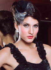 Black Silver Net Bow Feather Decoration Formal Hat