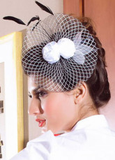 White Black Elegant Net Womens Hair Hat