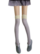 Light Purple Thicken Cotton Spandex Zettai Ryouiki Thigh High Stockings