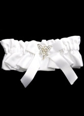 White Bow Rhinestone Terylene Satin Wedding Garter