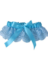 Blue Bow Lace Terylene Ribbon Wedding Garter