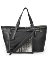 Cool Black Studded Zip Womens PU Bag