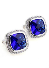 Fabulous Blue Zircon Electro-Plated Platinum Brass Cuff Links