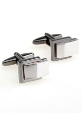 Top Grade Silver Rectangular Electro-Plated Steel Brass Cuff Links