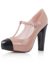 Naked Color Sheepskin Patent Leather Chunky Heel Mary Janes Pumps