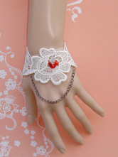 White Lace Flower Metal Chain Lolita Wrist Strap