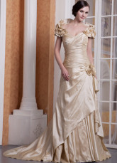 Champagne Taffeta Off-The-Shoulder Flowers Prom Dress