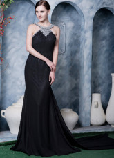 Black Chiffon Beading Halter Prom Dress