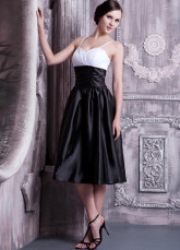 Black And White Taffeta Sweetheart Spaghetti Strap Bridesmaid Dress