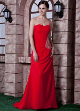 Red Chiffon Beading One Shoulder Prom Dress