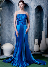 Royal Blue Elastic Satin Beading Strapless Prom Dress