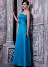 Blue Satin A-line Strapless Floor Length Bridesmaid Dress