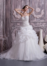 White Organza Satin Strapless A-line Wedding Dress