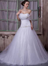 White Net Satin Strapless A-line Wedding Dress